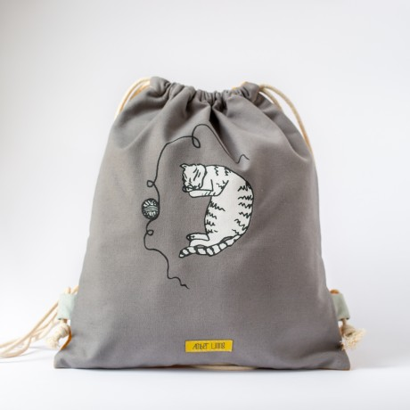 Gray drawstring bag